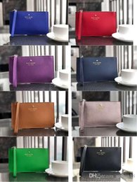 Wholesale fashion Wallets online shopping - kat Brand New leather wallets wristlet women purses clutch bags zipper Card bag with free gift wristlet women coin purses clutch bags zippe