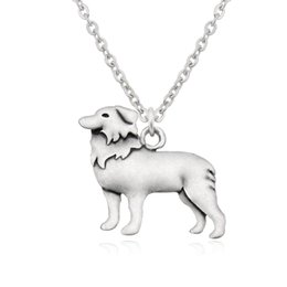antique silver chain wholesale NZ - Antique Silver Boho Border Collie Dog Charm Pendant Stainless Steel Chain Couple Necklace Animal Colar Choker Women Men Fashion Jewelry