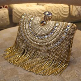 Silver Shoulder chain for purSe online shopping - Rhinestones Tassel Clutch Diamonds Beaded Metal Evening Bags Chain Shoulder Messenger Purse Evening Bags For Wedding Bag Y191017