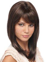 Medium Dark Brown Hair Australia - Women Elegant Medium Straight Dark Brown Daily Hair Synthetic Club Hair Kanekalon Heat Resistant Party Hair Full Wigs