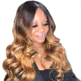 Two Tone Wigs 24 14 UK - Glueless Full Lace Human Hair Wig Water Wavy Remy Hair Wig ombre 1b 30 Two Tone Color with Baby Hair lace front wig