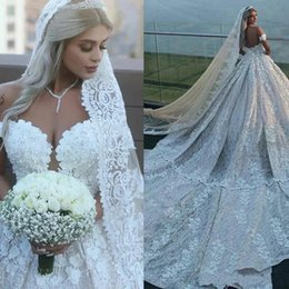 illusion back cathedral train wedding dress 2020 - Vintage Wedding Dresses Off The Shoulder Lace Appliques Pearls Long Train Arabic Wedding Gowns Back A Line Plus Size Lux