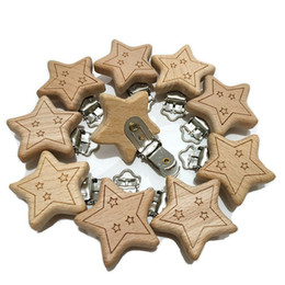 $enCountryForm.capitalKeyWord Australia - Natural Beech Wood Star Pacifier Clip Unfinished Nontoxic Baby Nipple Holder DIY Infant Pacifier Clasps Accessories