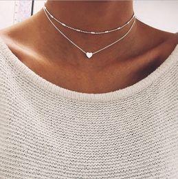 Necklaces Pendants Australia - New Double Layer Silver Chain Love Heart Necklace For Women Beads Choker Pendant Necklace Chocker collier femme -P
