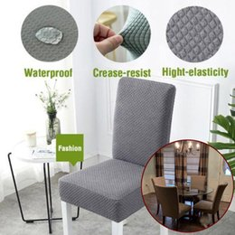 simple chair covers 2019 - Spandex And Polyester 1PC Seat Covers Simple Elastic Handmade Waterproof Decorative Chair Seat Covers Comfortable funda