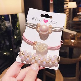 cute hair banding Australia - 3pcs set Bead Pearl Cute Hair Rubber Bands Girl Womens Bracelet Hair Rope Stretchy Extensions Rings Pink Black Blue Color