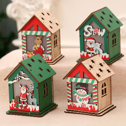wood toy house wholesale Australia - Cute Chirstmas Snowman Deer Santa Claus House Model Toy Wood Figurine Xmas Tree DIY Decoration Crafts For Kids Christmas decor