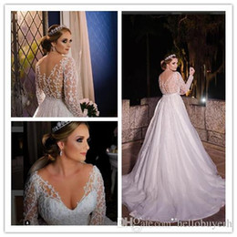 $enCountryForm.capitalKeyWord Canada - White A Line Tulle lace Long Sleeve Country Wedding Dresses South Africa 2019 New Sheer Top Bridal Gowns With Beading Bling abito da sposa