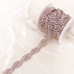 $enCountryForm.capitalKeyWord Australia - 1 Yard Rose Gold Crystal Rhinestone Trim Chain by Yard For wedding dress decorative crystal chain