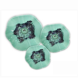 art for sale cheap UK - Hand Blown Murano Glass Elegant Tiffany Stained Hanging Plates Dale green color Modern art foyer Decor for cheap sale