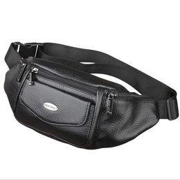 Travel Bum Bags Leather Australia - New Men Genuine Leather Belt Bum Fanny Pack Waist Bag Vintage Travel Shoulder Messenger Hip Sling Chest Pack