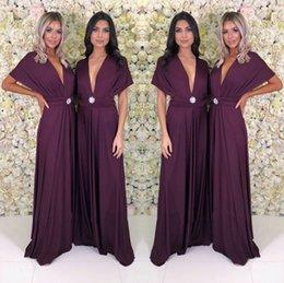 Темно-фиолетовый длинные женщины платье 2019 дешевые лето бохо крышка с коротким рукавом глубокий V шеи длинные подружки невесты вечерние платья yl57-2103