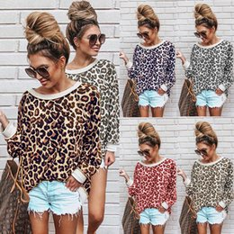 leopard print t shirt women s Australia - Women Leopard Print Tops Long Sleeve O-Neck Autumn T-Shirt Womens Designer Clothing Lady Spring Printed Tops 07
