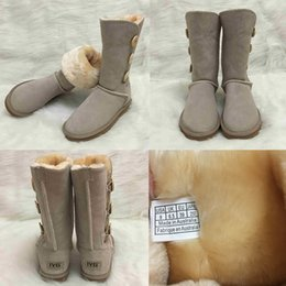 Cowhide snow boots online shopping - designer winter Boots Australian Style Women Snow Boots Buttons Decoration Genuine Cowhide Leather booties Brand shoes IVG Plus Size