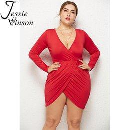 c66d346f99fb Jessie Vinson Women Plus Size Sexy V-neck Long Sleeve Draped Mini Dress  Black White Bandage Bodycon Club Dress 3XL Vestido