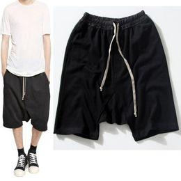 $enCountryForm.capitalKeyWord Australia - Highstreet Summer Mens Drop Crotch Shorts Baggy Loose Drawstring Hip Hop Black Urban Clothes Joggers Harem Shorts For Male