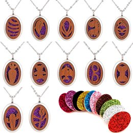 Bohemian Mask Australia - Ellipse Flower Mask Dolphins Bowknot Pattern Wood Locket Essential Oil Diffuser Steel Chain Necklace Aromatherapy Locket Magnetial With Pad