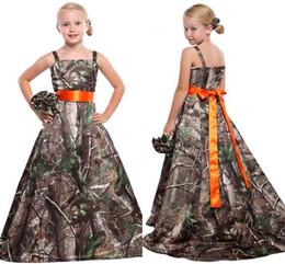 Blue princess dress juniors online shopping - Camo Flower Girls Dresses For Weddings Spaghetti Strap Princess Long Junior Bridesmaid Dresses Country Satin Girls Pageant Dresses