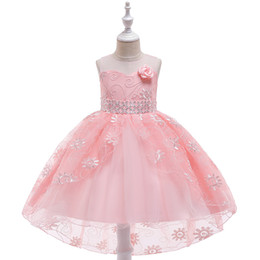 Flower Hi Lo Evening Gowns Australia - New Design Flower Girls Dress for Prom Evening Hi-Lo Lace Communion Dresses Girl's Pageant Dresses in Stock