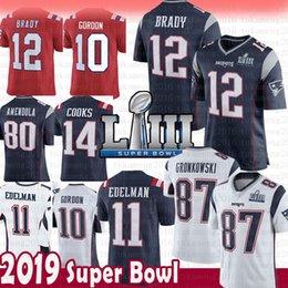 12 Tom Brady 87 Rob Gronkowski Jersey Neue Patrioten 11 Julian Edelman 10 Josh Gordon 14 Brandin Cooks 2019 Super Bowl LIII 15 Hogan Harrison
