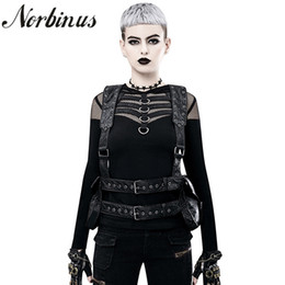 backpacks rock style UK - Norbinus Women's Steampunk Backpack PU Leather Backpacks For Women Gothic Shoulder Waist Bags Motorcycle Daypack