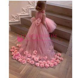 $enCountryForm.capitalKeyWord Australia - Pretty 3D Flower Tutu High Low Girls Pageant Dresses High Collar Puffy Tulle Flower Girl Dresses 2019 Communion Dresses Pretty