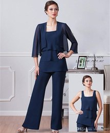 $enCountryForm.capitalKeyWord NZ - Dark Navy Chiffon Mother Of the Bride Pant Suits With Jacket Spaghetti Half Sleeves Custom Made Plus Size Cheap Wedding Mothers Guest Dress
