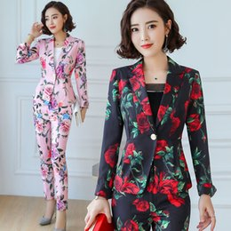 Korean Office Suits Australia - New Style Spring Formal Oversized Office Black Floral Korean Veste Blazer Femme Woman Clothes Business Pant Suits Work