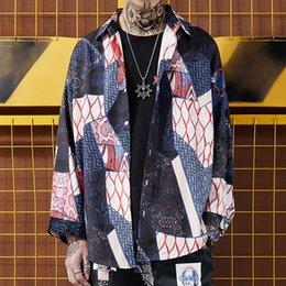 Japonais Harajuku Patchwork À Manches Longues Chemises Hommes 2019 Hip Hop Casual Lâche Streetwear Chemises Femmes De La Mode Tops en Solde