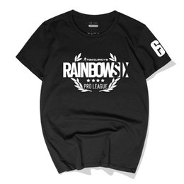 Wholesale rainbow t shirts for sale – custom Casual Men T Shirts Tom Clancy s Rainbow Six Siege Cotton Tees Tops New Fashion Short Sleeve Round Neck Polos High Quality Streetwear