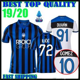 new 19 20 Atalanta camisas de futebol em casa 2019 2020 campeões da liga # 91 DUVAN # 10 GOMEZ # 72 ILICIC # 88 PASALIC DE ROON camisas de futebol venda por atacado