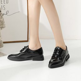 college wind shoes Australia - Pointed Cloth Locke Female 2019 Autumn College Wind Women's Small Leather Thick With Lace Single Shoes Black Chao