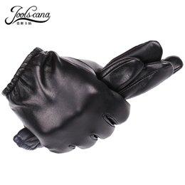 Men Gloves Leather Sheepskin Australia - JOOLSCANA genuine leather gloves men fashion driving wrist gloves winter autumn made of Italian imported natural sheepskin