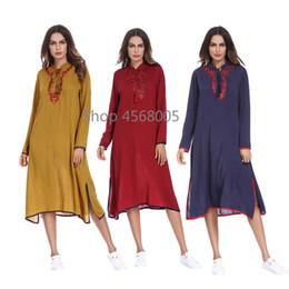 Cotton islamiC abaya online shopping - Arab Middle East Women Wear Tie Maxi Long Sleeve Dress Abaya Embroidery Muslim Long Robe Loose Moroccan Islamic Clothing Dress