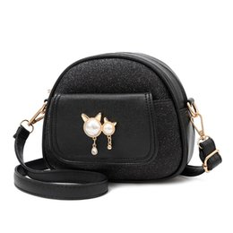 Vintage Sequins Splice PU Leather Women Bags Fashion Small Shell Bag With Cat Toy Mini Shoulder Bag Casual Crossbody Bag Hot