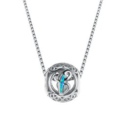 Sterling Silver Initial Pendant Australia - Blue&white opal necklace 2018 fashion letters 925 sterling silver filled necklace pendant wedding jewelry for woman