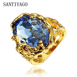 Men Blue Stones Ring Australia - New Luxury Rings For Women Big Natural Stone Statement Noble Gold Color Men Rings Round Blue Man Ladies Elegant Ring