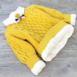 Wholesale collar knitwear for sale – oversize Wool sweater baby toddler boy knit pull over winter top children knitwear clothes thick sweater unisex knitted shirt collar kid
