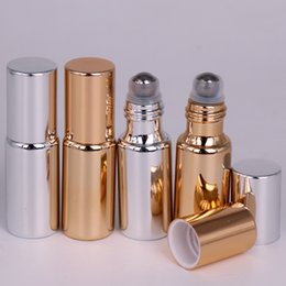 Ingrosso Bottiglia di profumo di vetro UV sveglia mini 200pcs 5ML all'ingrosso all'ingrosso con rotolo sulla fiala vuota dell'olio essenziale da DHL