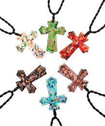 Necklaces Pendants Australia - Cross Multi-Color Lampwork Murano Glass Gold foil Handmade Weaving Pendants Necklaces Wholesale Retail Fashion Jewelry FREE #ng13