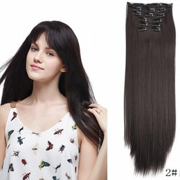 $enCountryForm.capitalKeyWord Australia - Sara Clip in on Kinky Straight Hair Extensions Curly Hair Pieces Hairpiece Extension For Lady & Women Hairpieces 6PCS Set 50CM 20Inch