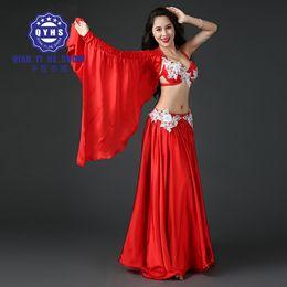 394a1738dda2 2018 new women Professional Belly Dancing Costumes Set Performance Diamond  2PCS Bra Skirt Luxury Handmade