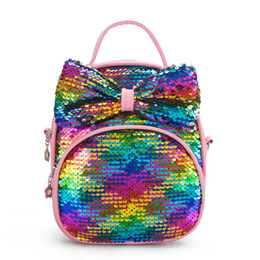 Discount leather mini shoulder bag for men - Children Two Ways Using Sequins Bag Bow Mini PU Leather Backpack for Kids Girls Teenager Girls Fashion Crossbody Shoulde