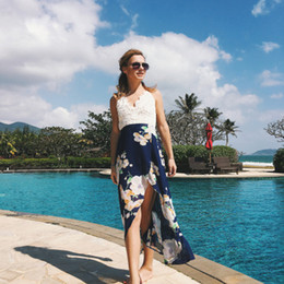 $enCountryForm.capitalKeyWord Australia - Women Lace Stitching Printed Sling Dresses Fashion Sexy Casual V-neck Holiday Beach Long Skirt Slit Chiffon Dress