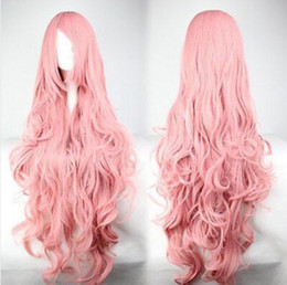 luka megurine cosplay Canada - WIG free shipping New Fashion 85cm Long Pink Curly Vocaloid Megurine Luka Cosplay Party Full Wig