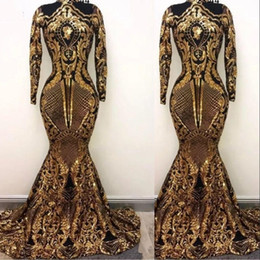 6de92fc6ac496 2019 Gold Arabic Muslim Long Sleeves Mermaid Evening Dresses Sequins Bling  Moroccan Kaftan Prom Dress Formal Party Gowns For Women