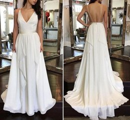 Backless Summer Wedding Party Dress Australia - 2019 Summer Chiffon A Line Wedding Dresses Spaghetti V Neck Sexy Backless Wedding Party Gowns for Bride