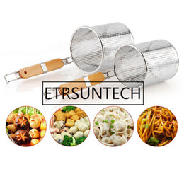 kitchen basket strainer Australia - Stainless Steel wooden handle Frying Basket Strainer Dumplings Noodles Cooking Colanders Chef Basket Kitchen Sink Strainer Tools