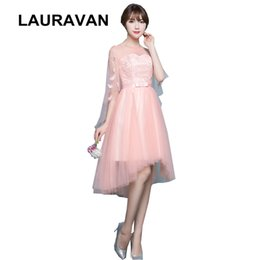 $enCountryForm.capitalKeyWord Australia - peach princess gown famous lace up o neck capped high low short front long back fantasia bridesmaid dress party 2019