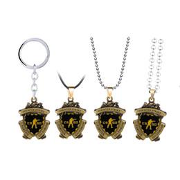 $enCountryForm.capitalKeyWord UK - Game CSGO Medal Keychain Metal Pendant Necklace Counter Strike CS GO Keyring Men Jewelry Fans Gift Souvenir Women Choker llavero